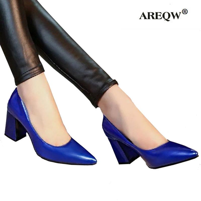 AREQW 2017 літнє офісне взуття для жінок Насоси на високих підборах Вечірка Простий вказівний Неглибокий високий каблук Жіноче офісне взуття шкіряне жіноче