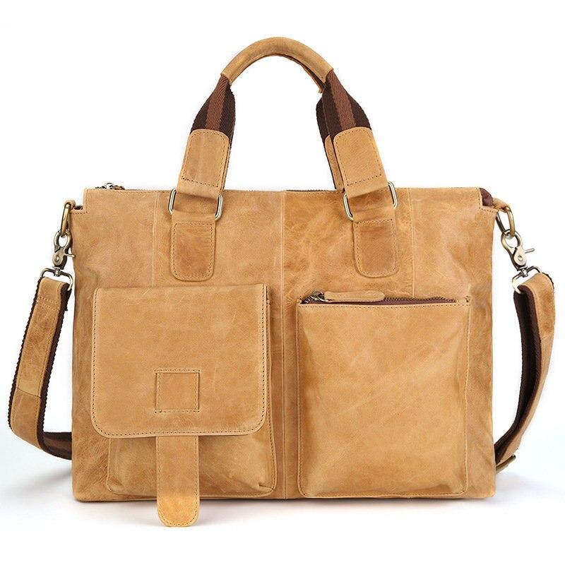 Luxury brand 100% Cow Genuine leather bag men 15.6 15 inch  Large capacity Laptop bag Shoulder messenger Business bag 2018