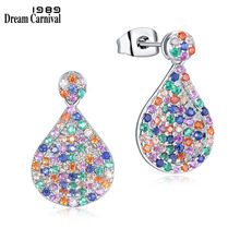 DreamCarnival 1989 New Mixed Multi Colors Zircon Drop Earrings for Women Cute Look Jewelry Wholesales Gifts Orecchini SE11811MU