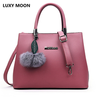 Luxy Moon Designer Ladies Small Tote Bags Hairball Pendant Women Bags Artificial Leather Handbags Female Shoulder