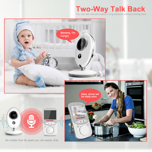 Wireless White Baby Monitor with LCD Display