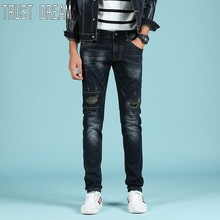 TRUST DREAM Europeans Style Young Men Slim Patchwork Jeans Elastic Pant Man Scratched Fashion Street Jeans