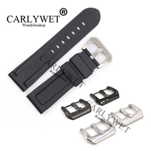 CARLYWET 24mm Black Waterproof Silicone Rubber Replacement Wrist Watch Band Strap Belt Silver Black Buckle For Luminor 24mm silicone rubber watch band for sony smartwatch 2 sw2 dual brush 316l stainless steel buckle strap wrist belt bracelet black
