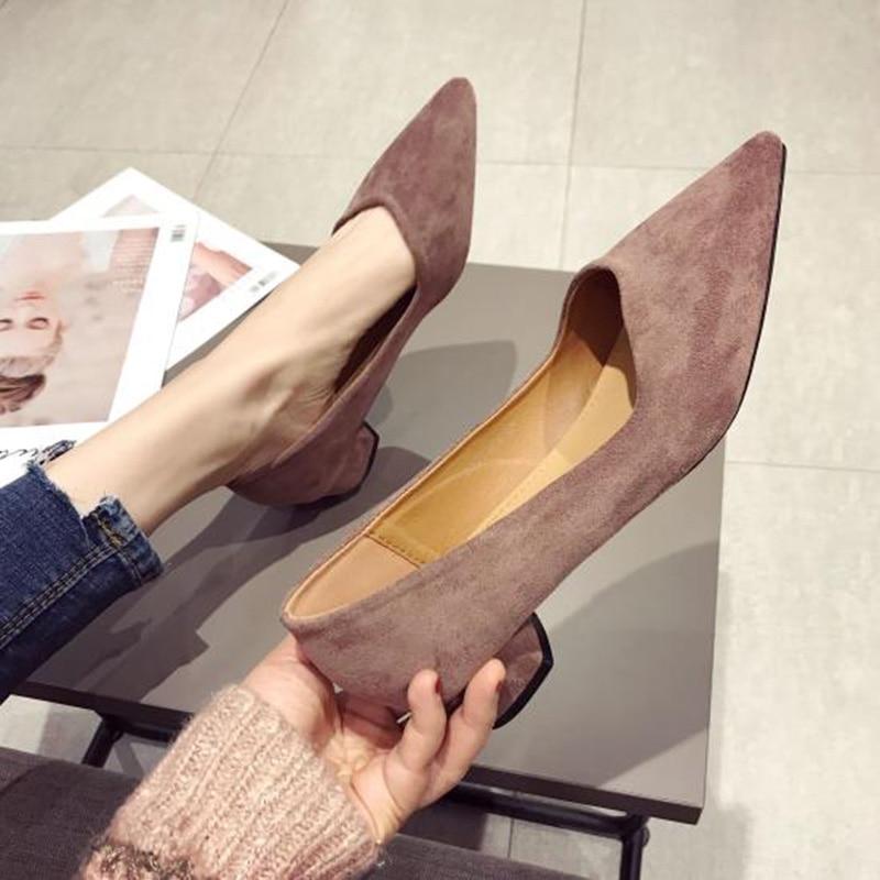 2019 Spring Women Shoes Pointe Office Ladies Low Heels Women Pumps Elegant Woman High Heels A738-in Women's Pumps from Shoes