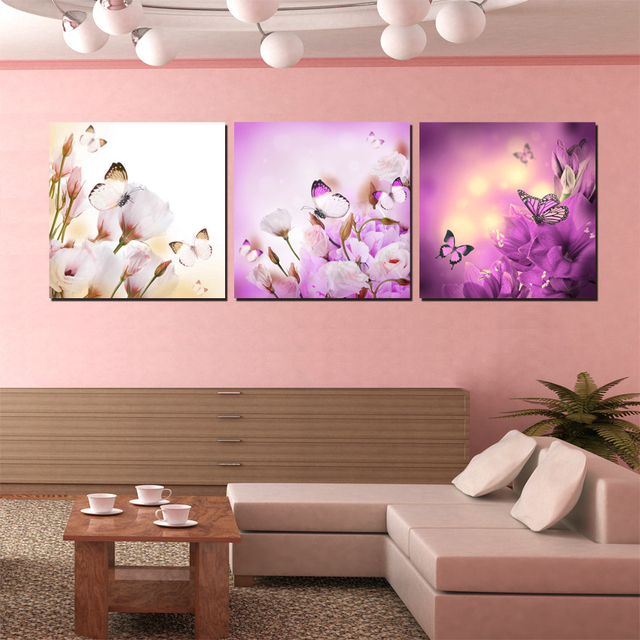 Three Piece Purple Flower Oil Painting Canvas The Butterfly Drawing Pictures Paint Prints Wall Art