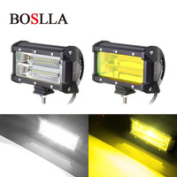 BOSLLA LED Work Light Bar 4x4 Led 12v Offroad 5inch 72W Work Led Car Styling Flood