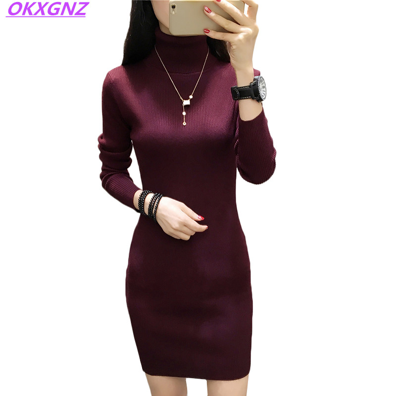 2018 Women Dress Winter Autumn Sweater Knitted Pullover Slim Elastic Turtleneck Long Sleeve Sexy Lady Short