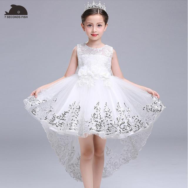 Новогоднее платье Белый платье принцессы для От 3 до 14 лет нарядное платье для девочек 7 секунд рыбы дети бренд vestidos детское праздничное платье