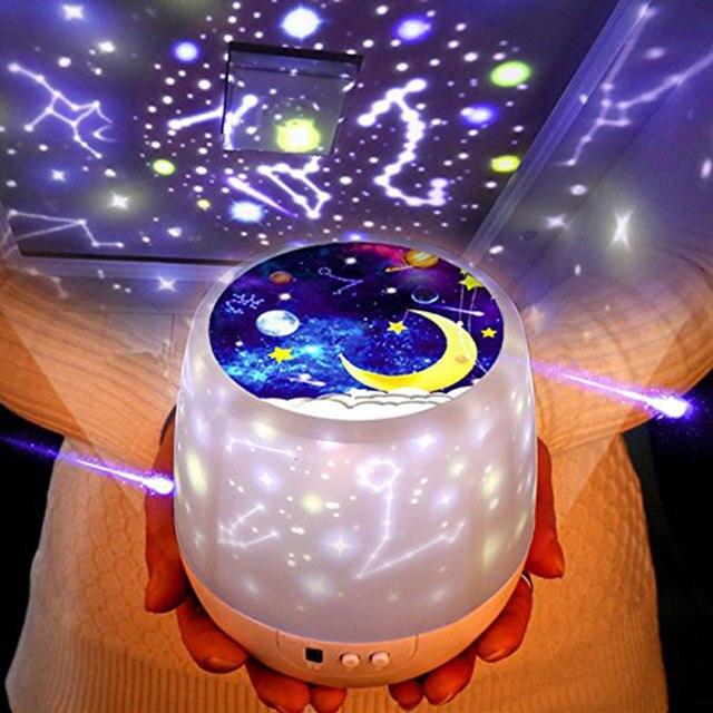 Led Night Light Starry Sky Magic Star Moon Planet Projector Lamp Kids Baby Nursery Usb