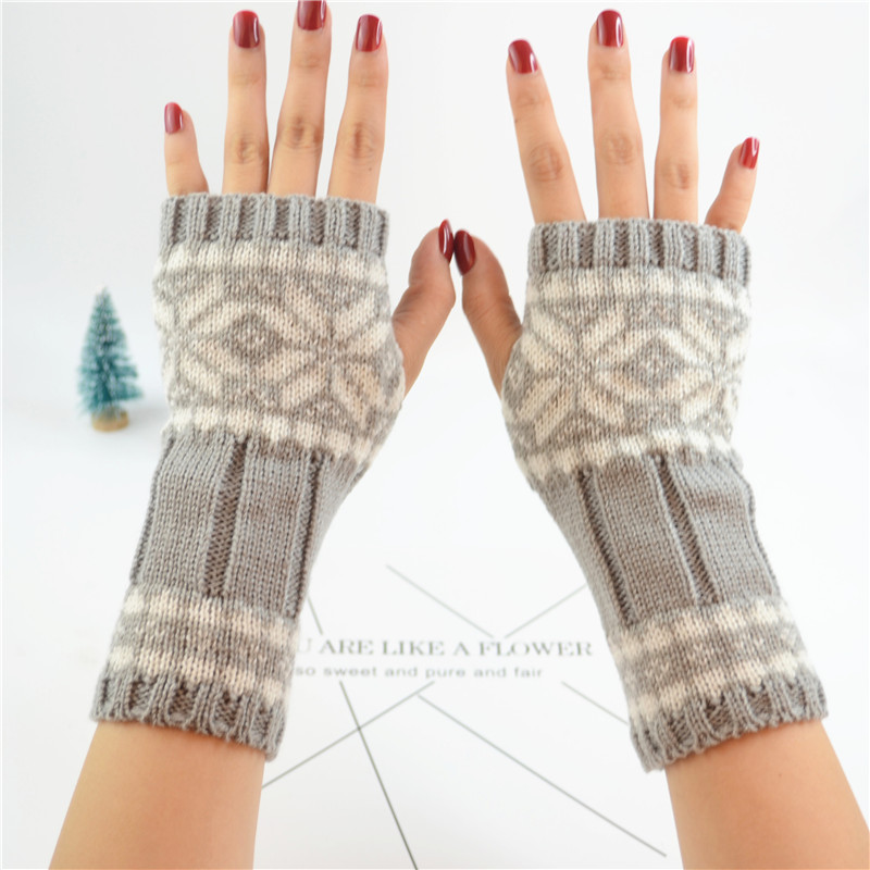Women Short Stretch Wool Knit Half Finger Touch Screen Mittens Female Winter Warm Arm Crochet Snowflake Fingerless Gloves B77