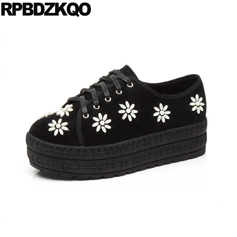 Flats Platform Luxury Suede Creepers Beaded Ladies Thick Sole Women Pearl Famous Brand Shoes Muffin Lace Up Flower Black Floral