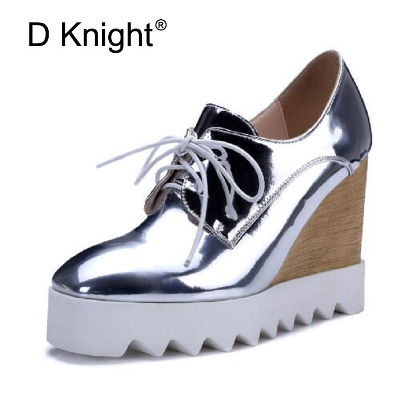 Women Bling Patent Leather Oxfords 2017 Wedges Ladies Casual Platform Wedge Heel Creepers Lace Up High Heels Pumps Shoes Woman bling patent leather oxfords 2017 wedges gold silver platform shoes woman casual creepers pink high heels high quality hds59
