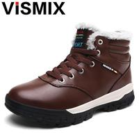 VISMIX Fashion Men Winter Snow Boots Keep Warm Boots Plush Ankle Boot Snow Work Shoes Casual