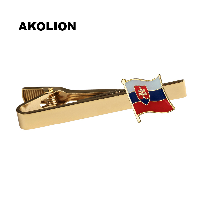 Metal Tie Bar Slovakia Flag Tie Pin Bussiness Tie Clips Top Quality for Men Clothing Accessories 100pcs  KS-0164
