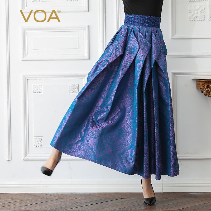 VOA жаккардовые шелковые плиссированные юбки Для женщин Макси Длинная юбка Винтаж элегантный фиолетовый плюс Размеры 5XL Высокая Талия Лето