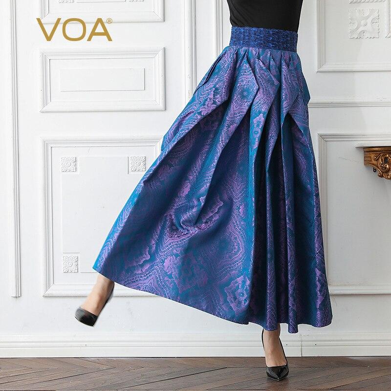 VOA жаккардовые шелковые плиссированные юбки женские макси длинная юбка трапециевидной формы винтажная элегантная фиолетовая летняя с высо