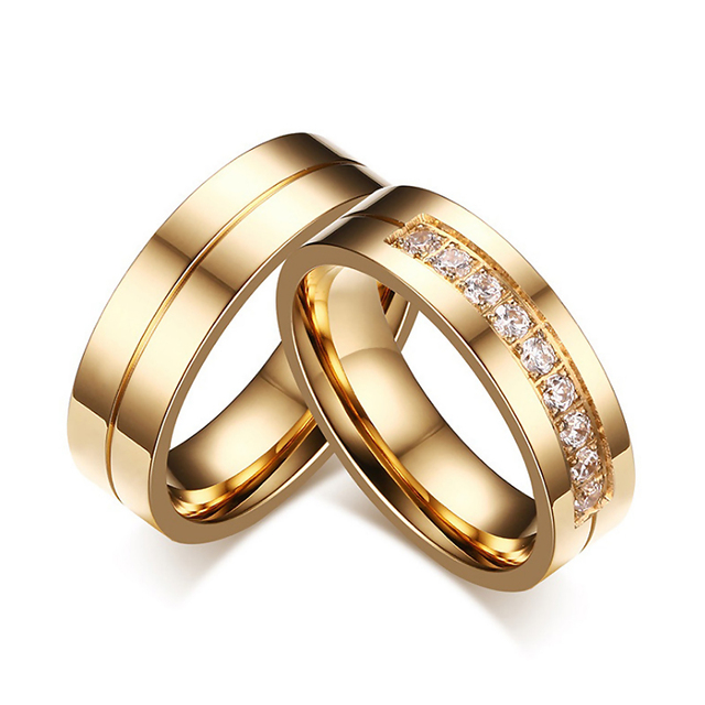 Gold Color Wedding Bands Rings for Women Men High Quality CZ Engagement Couple P