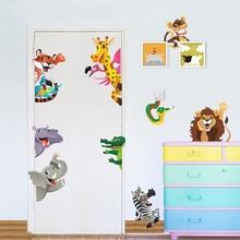 Jungle Animals Wall Stickers For Kids Rooms Door Decoration Diy Home Decals Lion Elephant Giraffe Cartoon Pvc Mural Art Posters