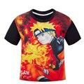 NARUTO Crianças Meninos t-shirt da luva preta das crianças verão dos desenhos animados T-shirt de manga curta