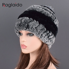 rex rabbit fur hat cap women's winter pompom caps warm natural fur knitted elast