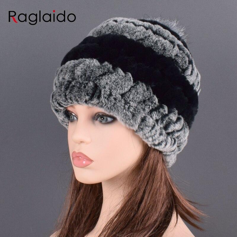 Rex Rabbit Fur Hat Cap Women's Winter Pompom Caps Warm Natural Fur Knitted Elastic Black Gray Fox Ball Female Bomber Hats Girsl