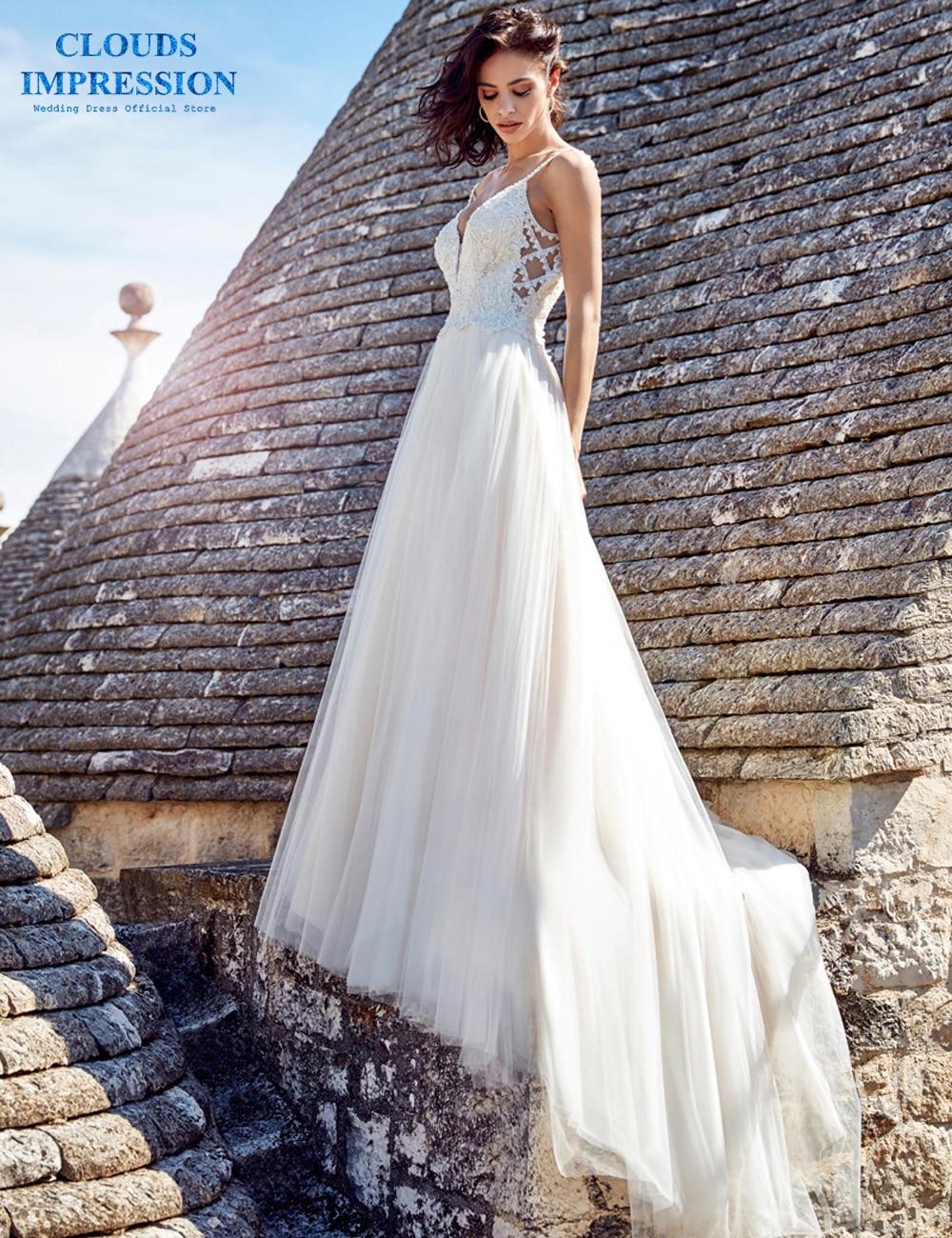 ca46ae2a95ae CLOUDS IMPRESSION Sexy Sweetheart 2019 Beach A-Line BOHO Wedding Dress  Beading Vestige De Noiva Bridal Dress Spaghetti Straps ~ Premium Deal July  2019