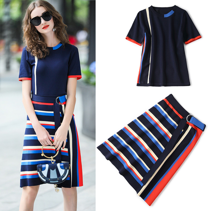 Top Quality New Work Wear Two Piece Set Blue Knitted Sweater Women Skirt Suit Summer Women Tops And Stripped Skirt Set Suit NS31
