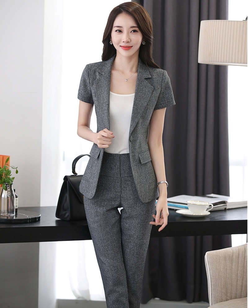 Novelty Grey Professional Business Suits Jackets And Pants Ladies Work Wear Pantsuits Summer Trousers Sets Female Blazers S-4XL