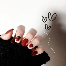 Cute Little Sweet 24pcs/set Acrylic Fake Fingernails Ins Rendering False Nails Simple Rainbow Flower Women Full Nail Tips Patch
