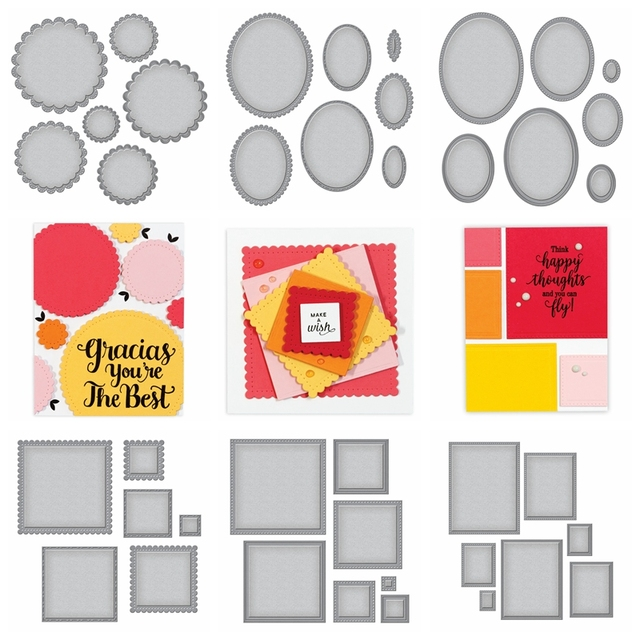 7 Sets Basic Frame Metal Cutting Dies Stencils For DIY Scrapbooking/Photo Album Decorative Embossing DIY Paper Cards 2018 New