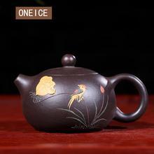 Zwart Zhu Modder Yixing Theepot Pure Hand Handgemaakte Kleurrijke Modder Geschilderd Bloem Vogel Xi Shi Pot Paarse Klei 188 Bal gat 170 Ml