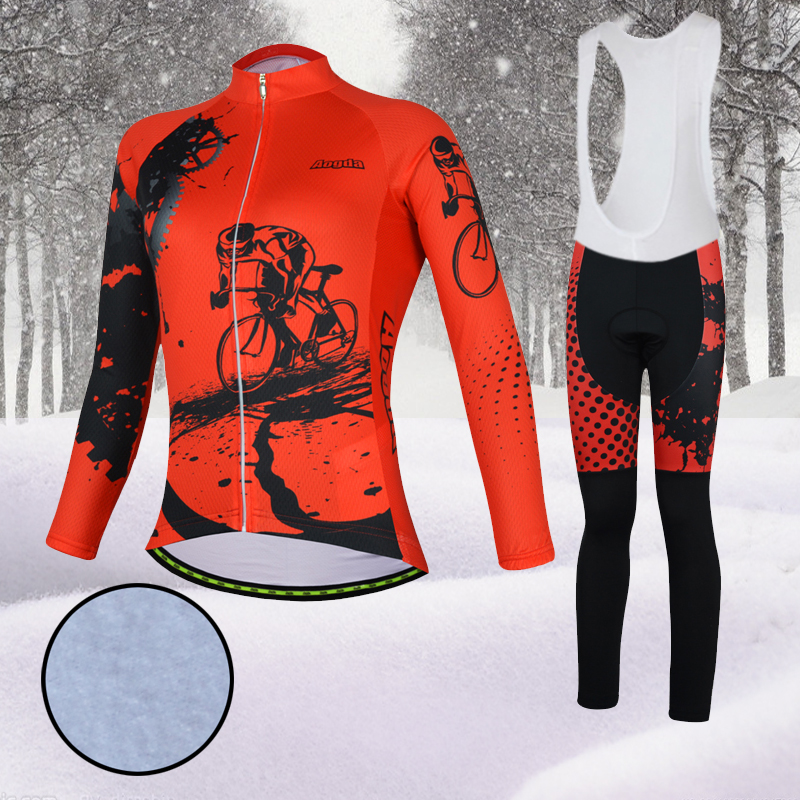Aogda Red Winter Cycling Sets Women Thermal Fleece Bike Clothing Long Sleeve Bicycle Clothes Wear Maillot