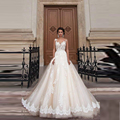 Stunning Vintage Sheer Castle Wedding Dresses 2016 Illusion Back Appliques Lace Chapel Train Bridal Gown For Western Style