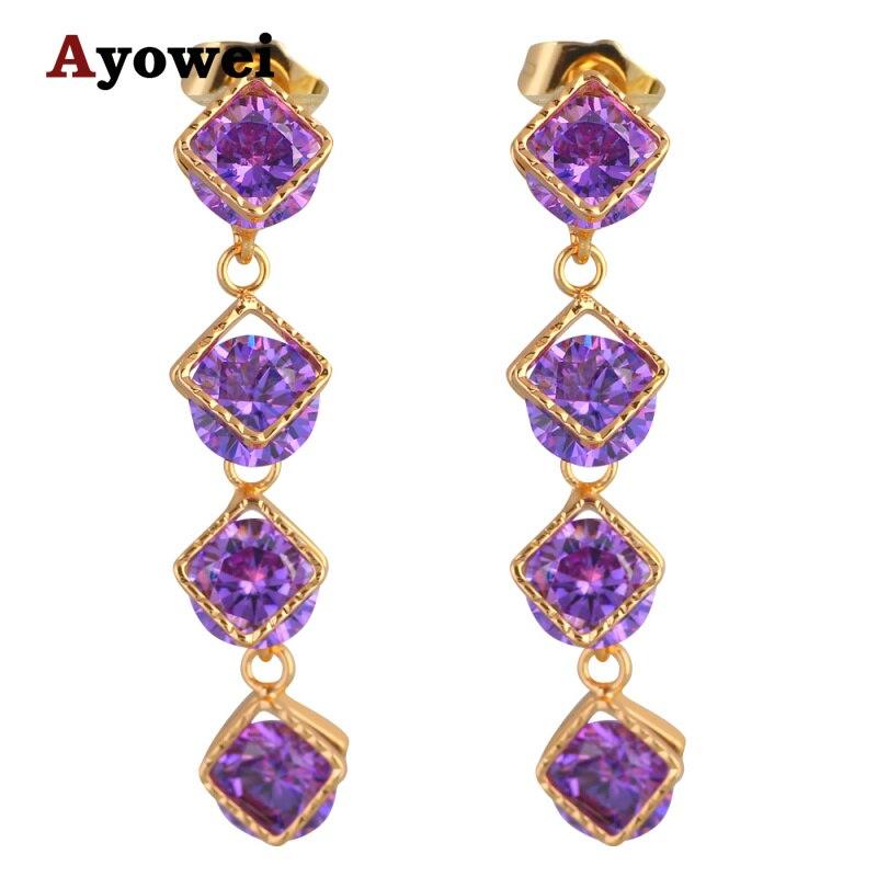 Promotion Jewelry Wedding Long Earrings Gold tone Delicate Purple Crystal Fashion Drop Earrings JES1116A