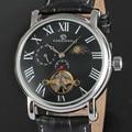 GANADOR de Los Hombres de Moda Y Elegante Reloj de Pulsera Mecánico Día y Noche de Visualización de imagen Negro Banda De Cuero Gran Número Romano