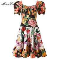 MoaaYina Fashion Designer Runway Dress Summer Women V neck Puff Sleeve Floral Print Elegant Cotton Dress High Quality
