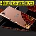 + Livre de Vidro Temperado de Metal Acrílico Espelho Da Tampa Do Caso para Sony Xperia Z5 E6603 E6633 E6553 Z4 Z3 L55T D6603 Alumínio Telefone Shell