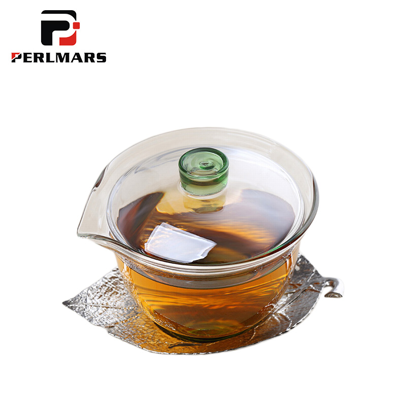150 Ml Creative Heat resistant Clear Glass Gaiwan Leaves Shape Saucer Lid Kit Home Make Tea Teaware Master Tea Bowls Teapot Gift