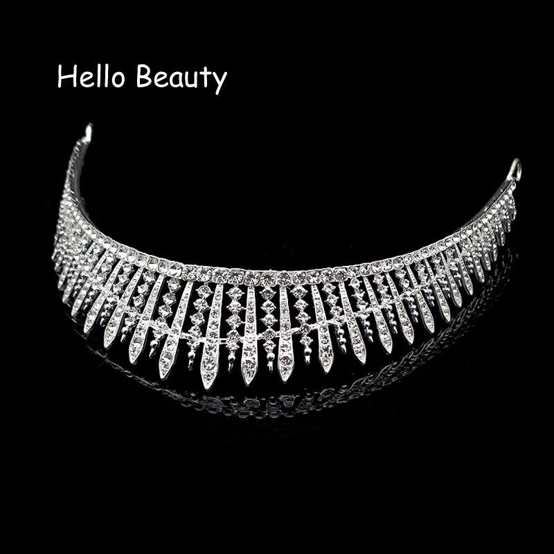 Silver Color Bridesmaid Queen Hair Accessories Big Crystal Wedding Tiaras Rhinestone Princess Bridal Prom Crowns For Bride