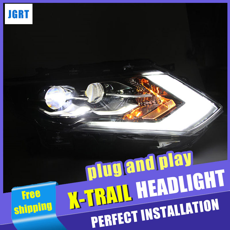 Car Styling Headlight assembly 2017 for Nissan X-Trail LED DRL Lens Double Beam H7 hid kit with 2pcs. hireno headlamp for volkswagen tiguan 2017 headlight headlight assembly led drl angel lens double beam hid xenon 2pcs