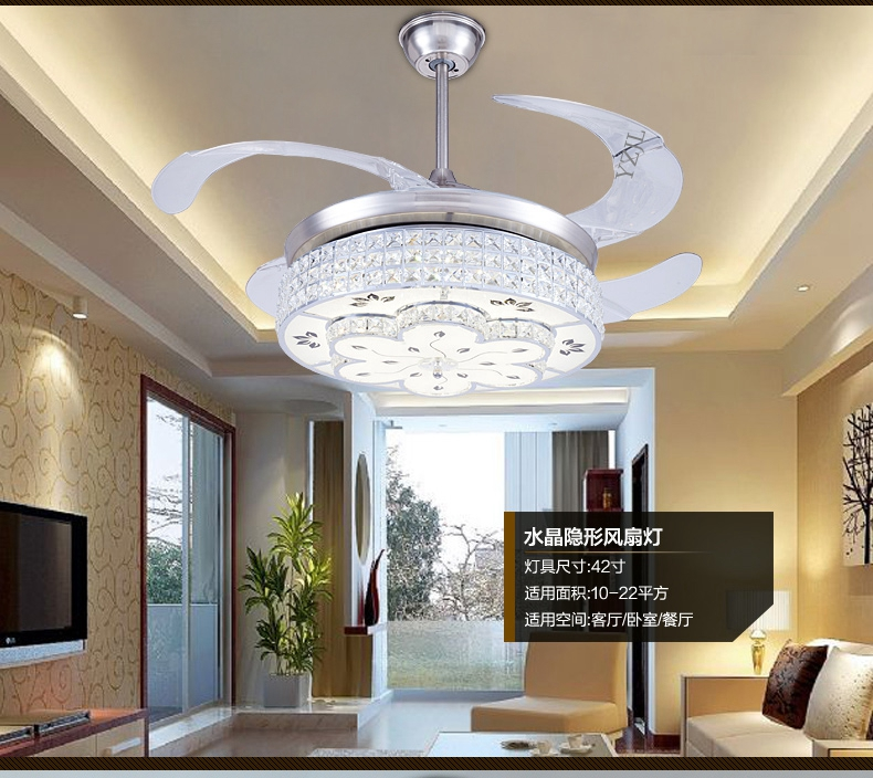 led ceiling fan crystal lamp european bedroom modern electric fan light ceiling crystal. Black Bedroom Furniture Sets. Home Design Ideas