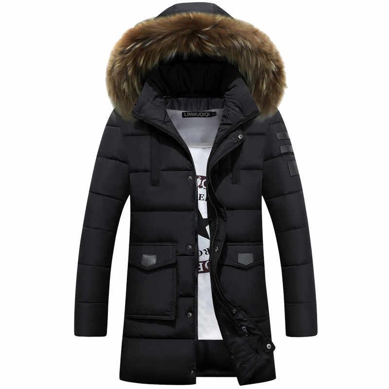 ドロップ配送 2018 パーカー男性の冬のジャケット新太いロング冬パーカー暖かいファッションビジネスジャケットコート毛皮フード付き LBZ07