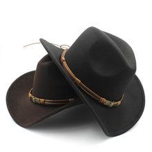 Chapéu de lã oco, chapéu de lã da moda para homens e mulheres, chapéu de cowboy ocidental com o sol de deus, cinto de cowgirl, jazz toca sombero, boné godher tamanho 56-58cm