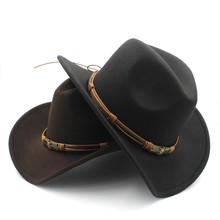 Moda damska męska wełna Hollow Western kapelusz kowbojski z słońce bóg pas Cowgirl Jazz Toca Sombrero ojciec chrzestny czapka rozmiar 56-58CM tanie tanio HXGAZXJQ Z wełny Dla dorosłych Unisex Stałe Na co dzień ASV-1FB Kowbojskie kapelusze 57-58CM adjused size 10CM