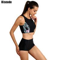 Riseado Sport Brand Swimwear Women Bikini High Waist Swimsuit   Swimming   Suit Summer 2018 Floral Printed Bathing Suits