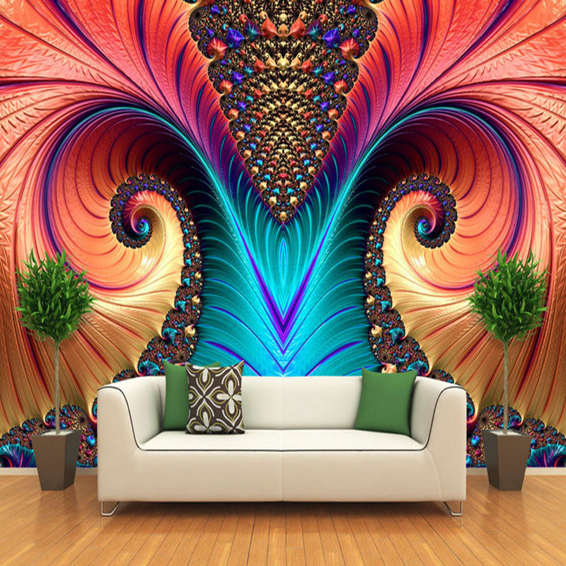 Custom Photo Mural Wallpaper Non-woven 3D Art Abstract Pattern Color Carving Living Room TV Background Wall Decor Wallpapers