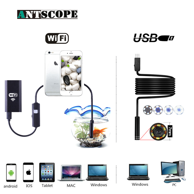 Antscope Wifi Endoscope Camera Android 720P Hard Tube Camera Endoscope Semi rigid Tube iOS Endoscope and USB 7mm endoscope 19 antscope wifi endoscope camera android 8mm 2 0mp 720p borescope mini camera semi rigid hard tube and softwire car inspection