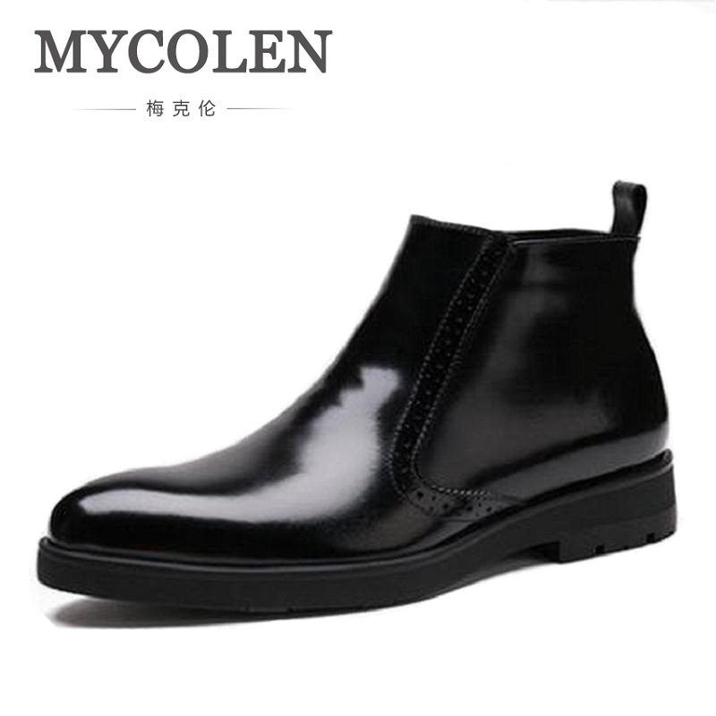 MYCOLEN High Top Men Boots 2019 Genuine Leather Mens Shoes Winter Keep Warm Zip Boots Height Increase Ankle Boots For MenMYCOLEN High Top Men Boots 2019 Genuine Leather Mens Shoes Winter Keep Warm Zip Boots Height Increase Ankle Boots For Men