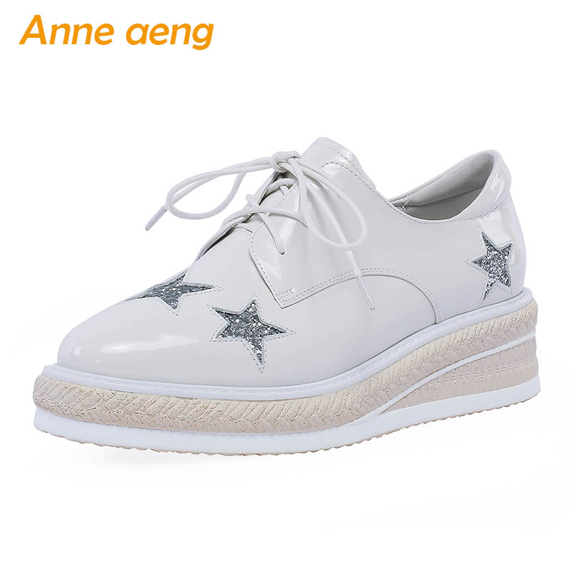 2019 New Spring/Autumn Genuine Leather Women Pumps Middle Wedge Heel Lace-Up Fashion Casual Women Platform Shoes White Pumps