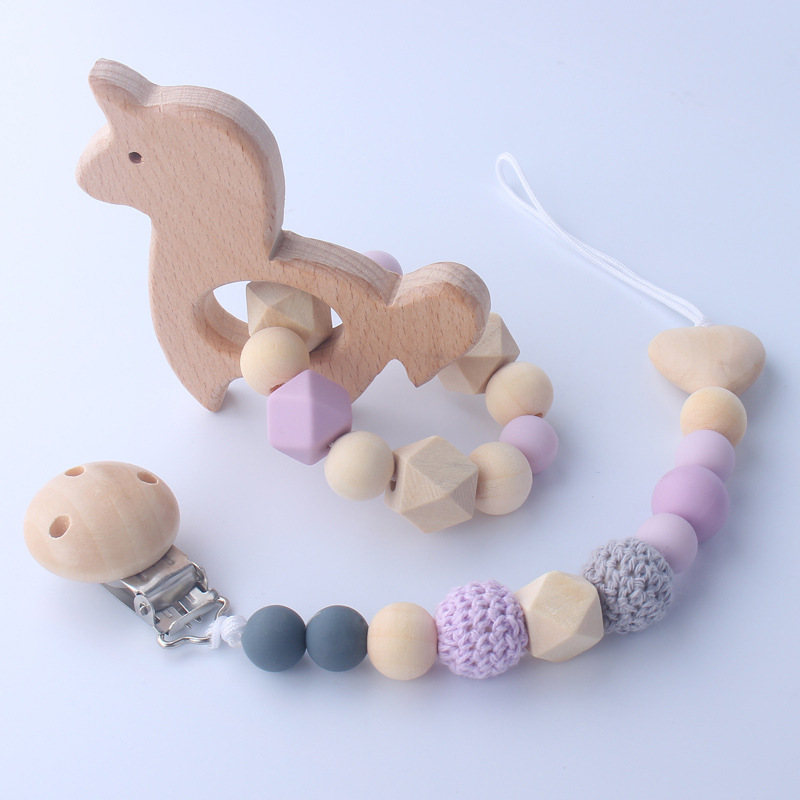 Baby Rattle 1set Crochet Beads Newborn Montessori Educational Wooden Rings Dummy Clips Baby Toys